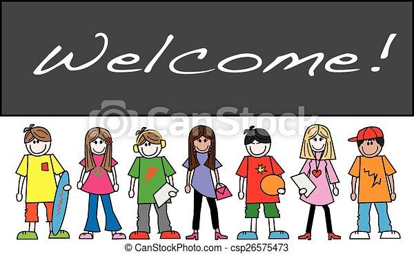 mixed ethnic teens placard - csp26575473