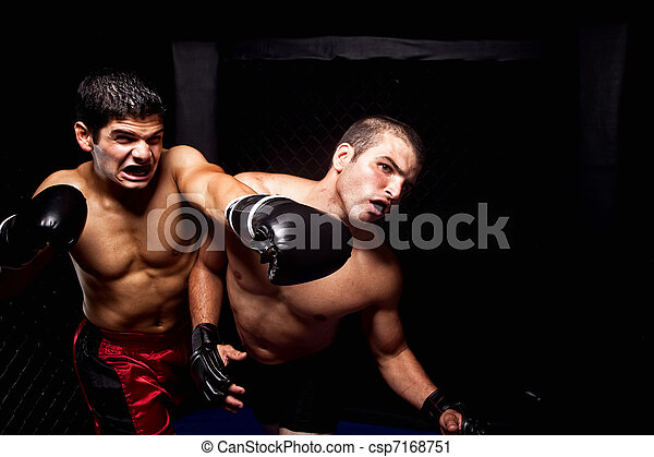 Mixed martial artists fighting - punching - csp7168751