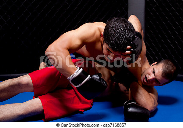 Mixed martial artists fighting - csp7168857