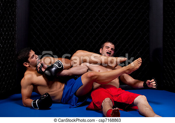 Mixed martial artists fighting - csp7168863
