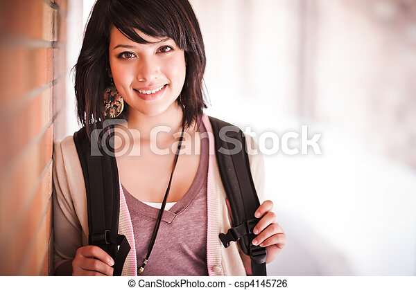 Mixed race college student - csp4145726