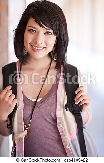 Mixed race college student - csp4103422