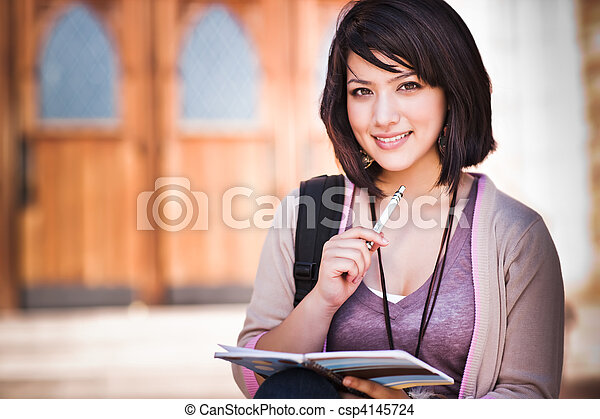 Mixed race college student - csp4145724