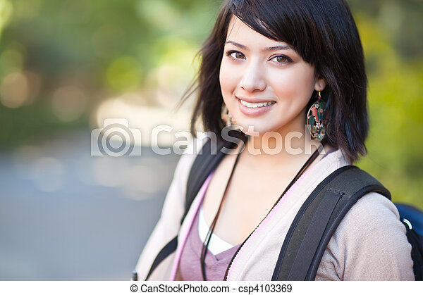 Mixed race college student - csp4103369