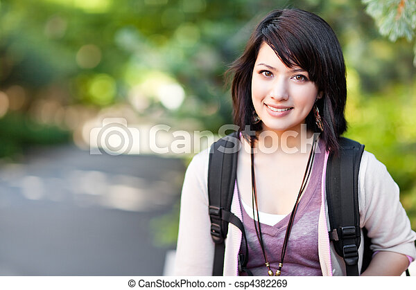 Mixed race college student - csp4382269