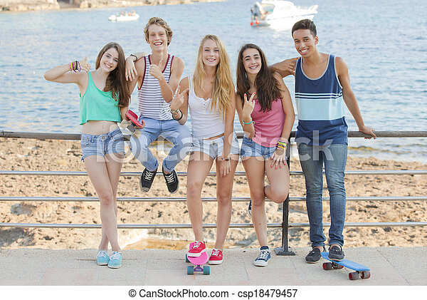 mixed race confident teens on student vacation - csp18479457