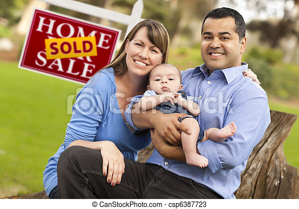 Mixed Race Couple, Baby, Sold Real Estate Sign - csp6387723