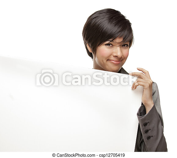 Mixed Race Young Adult Female Holding Blank White Sign - csp12705419