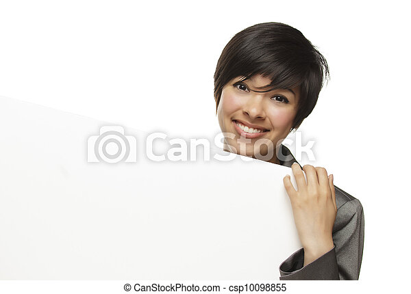 Mixed Race Young Adult Female Holding Blank White Sign - csp10098855