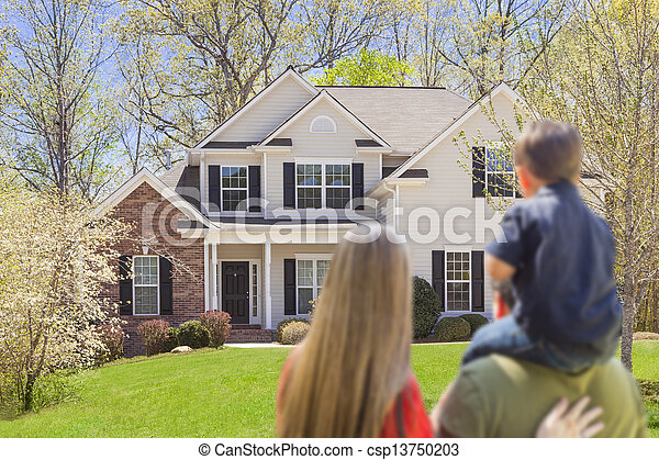 Mixed Race Young Family Looking At Home - csp13750203