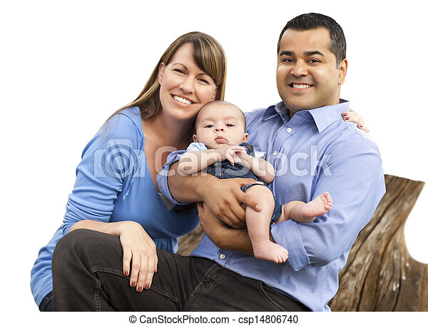Mixed Race Young Family on White - csp14806740