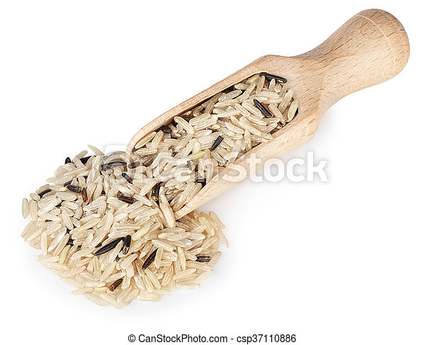 mixed rice in wooden scoop isolated on white background - csp37110886