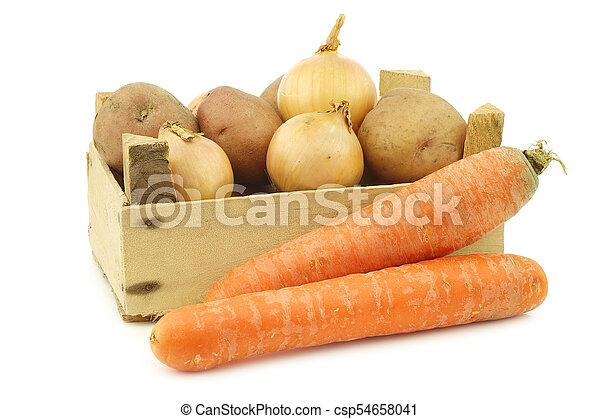 "Mixed root vegetables for making ""hutspot"" in a wooden crate - csp54658041"