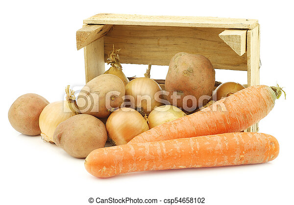 """Mixed root vegetables for making """"hutspot"""" in a wooden crate - csp54658102"""