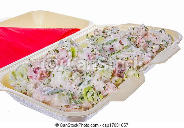 mixed salad with ham cucumber and sour cream - csp17031657