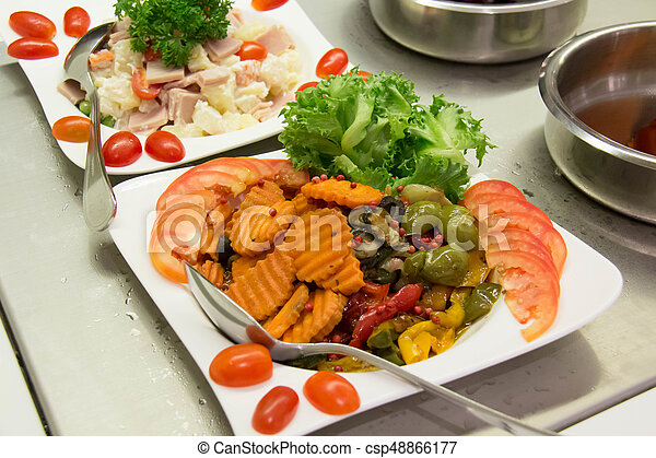 mixed Vegetable salad on a plate - csp48866177