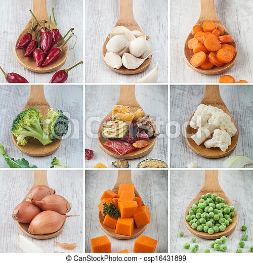 Mixed vegetables collage - csp16431899