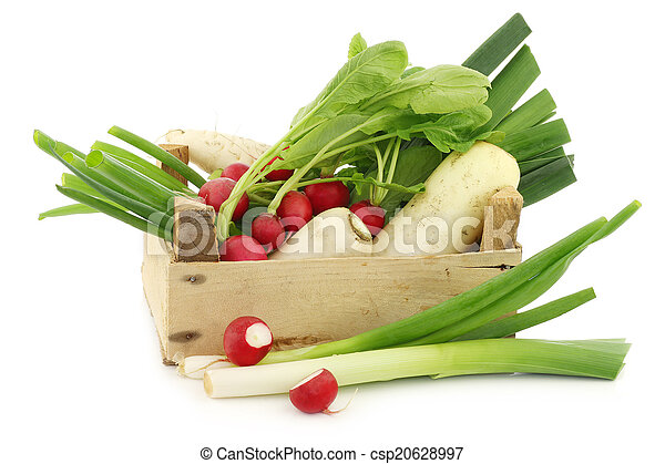 mixed vegetables in a wooden crate - csp20628997