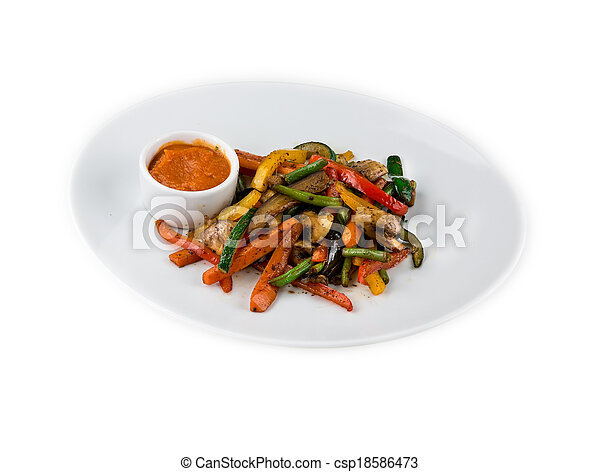 Mixed vegetables on a plate - csp18586473
