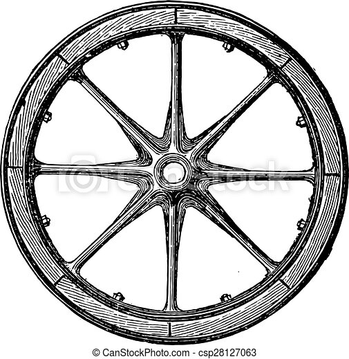 Mixed wheel, Arbel system with hub and iron rails and rim bais, vintage engraving. - csp28127063