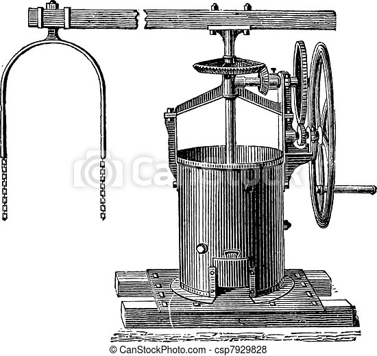 Mixer For The Preparation Of Mortar Vintage Engraving Old