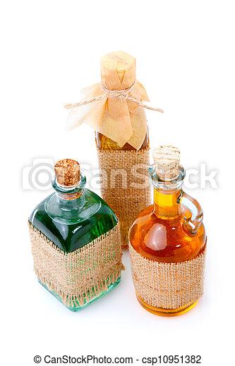 mixture, syrup in Medicine bottles on white background. - csp10951382