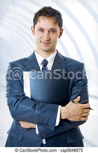 mládě, hezký, člověk obchodního ducha - csp5648875