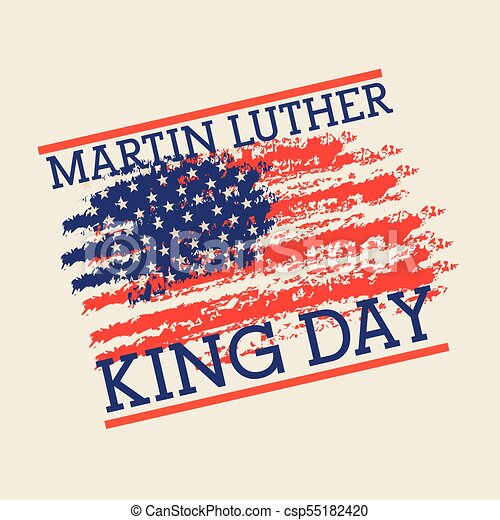 Mlk Jr Day Poster Painting Usa Flag Symbol Vector Illustration