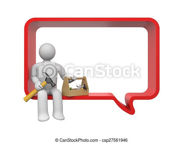 mluvící, kolem, hájení - csp27561946