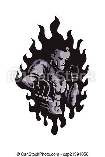 vector illustration of mma fighter clipart vector search rh canstockphoto com MMA Gloves Clip Art mma gloves clipart