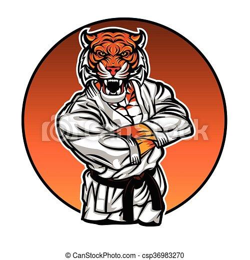 mma fighter tiger angry tiger vector illustration