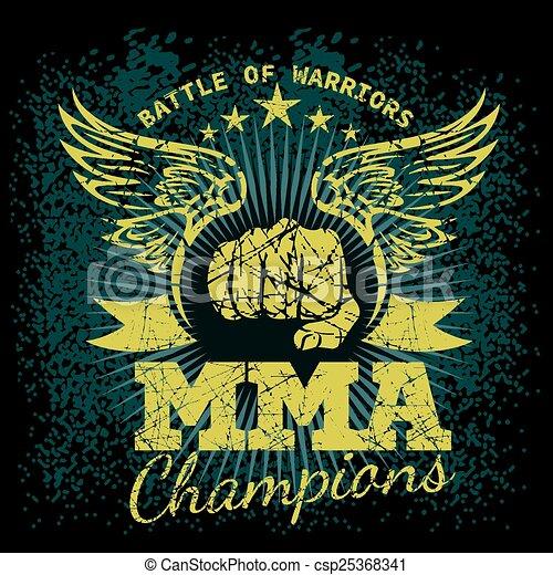 MMA labels on grunge background - csp25368341