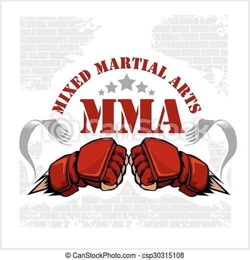MMA mixed martial arts emblem badges - csp30315108