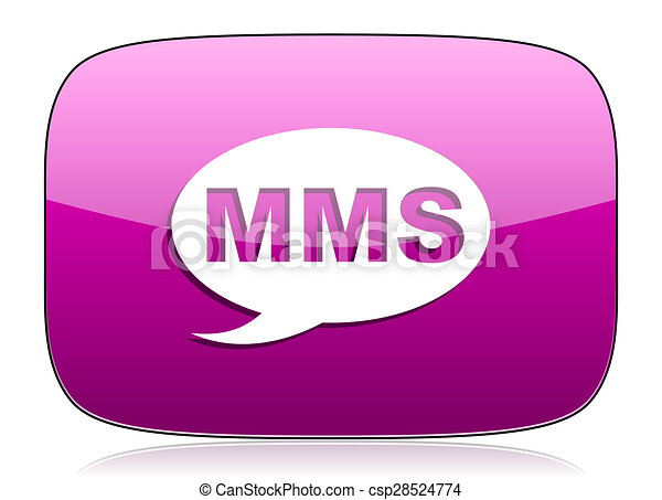 mms violet icon message sign - csp28524774