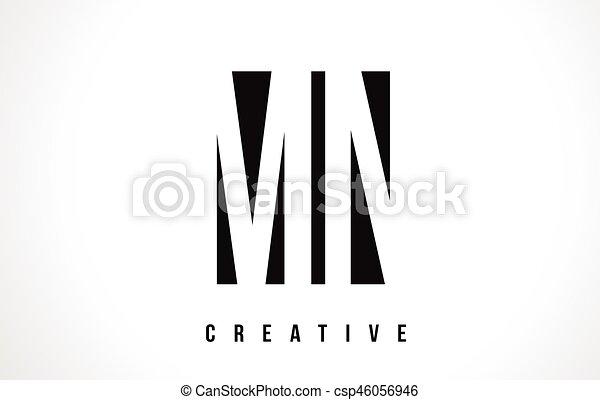 Mn M N White Letter Logo Design With Black Square Mn M N White