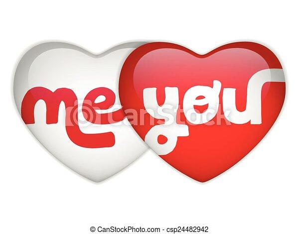 mnie, serce, ty, dzień, valentine - csp24482942