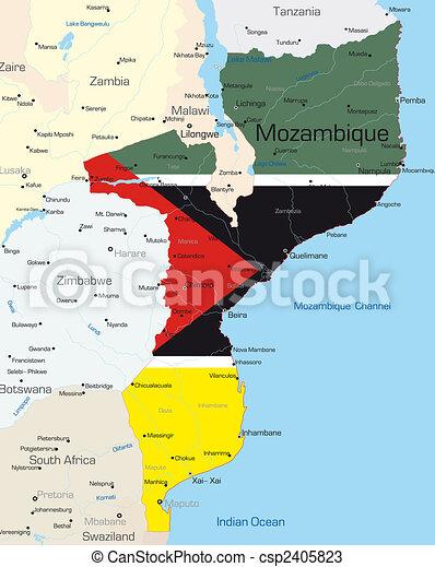 mapa de moçambique detalhado Mapa, colorido, cor, país, abstratos, bandeira, moçambique, nacional. mapa de moçambique detalhado