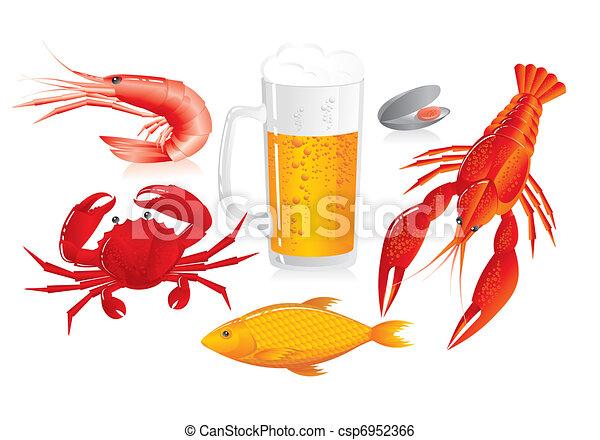 mořské jídlo, snack, -, pivo dřít na zkoušky - csp6952366