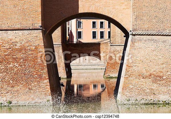 moat and bridges of Castle Estense in Ferrara - csp12394748