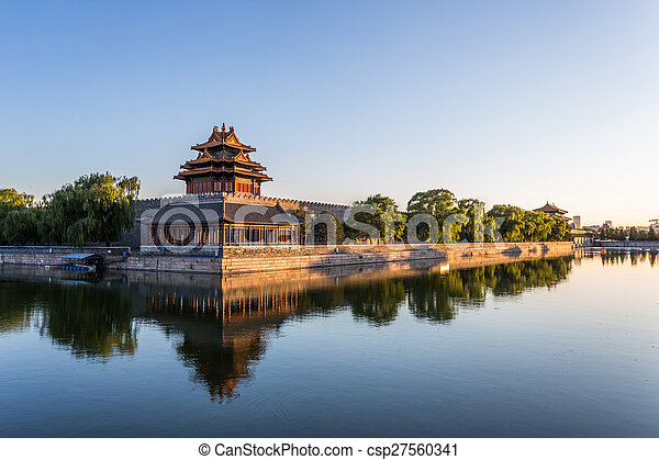 moat and watchtower of imperial palace in Beijign, china  - csp27560341