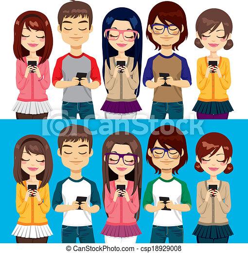 mobil, användande, folk, telefoner - csp18929008