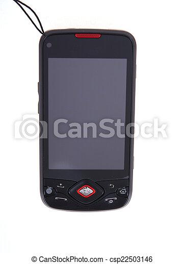 mobil, avskärma, isolerat, ringa, toucha, vit - csp22503146