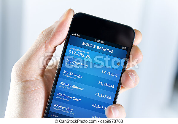 mobil, bankrörelse, smartphone - csp9973763