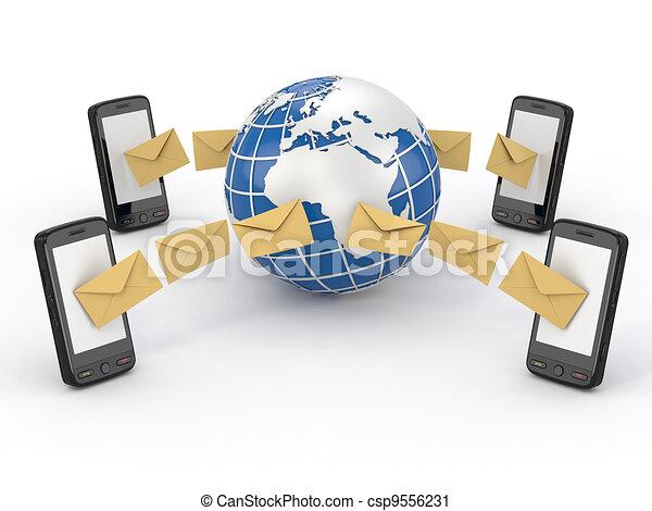 mobil, meddelanden, sms, ringa, omröstning, earth. - csp9556231