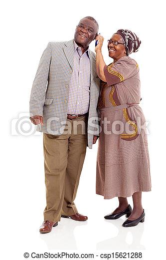 mobil, par, ringa, afrikansk, användande, senior - csp15621288