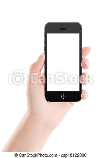 mobile, écran, main, téléphone, femelle noire, vide, intelligent - csp18122800