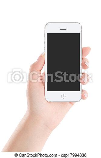 mobile, écran, main, téléphone, femme, vide, blanc, intelligent - csp17994838