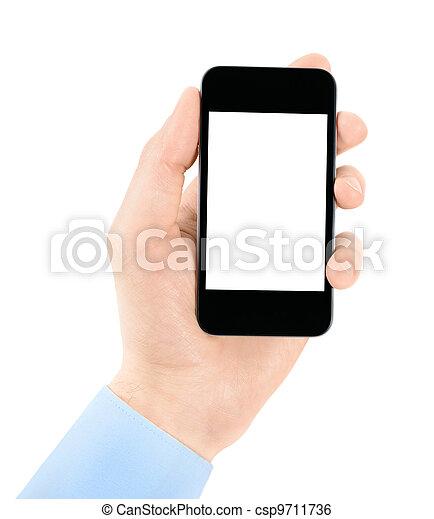 mobile, écran, main, téléphone, tenue, vide - csp9711736