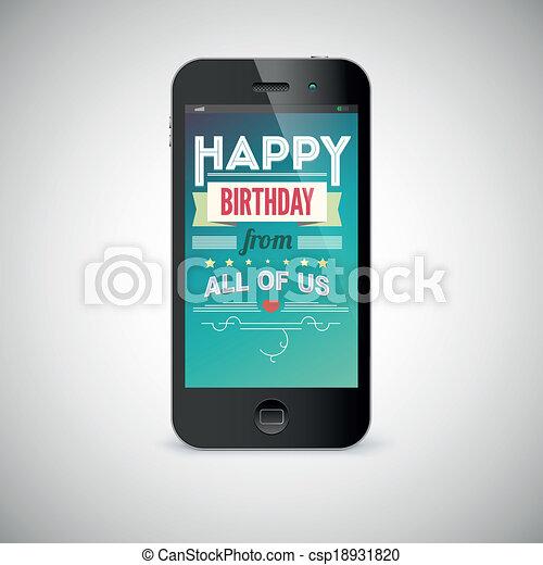 Mobile Ecran Salutation Telephone Carte Anniversaire Canstock