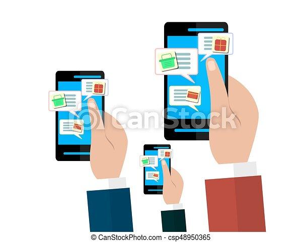 448ee46bea9 Mobile and online shop concept. hands holding smartphones. digital  marketing